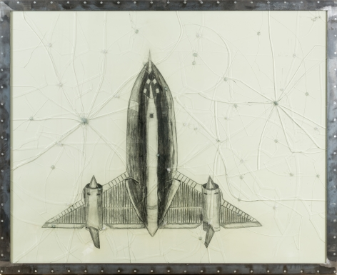 Lockheed Jet in Water,2014, Graphite on paper, shattered glass