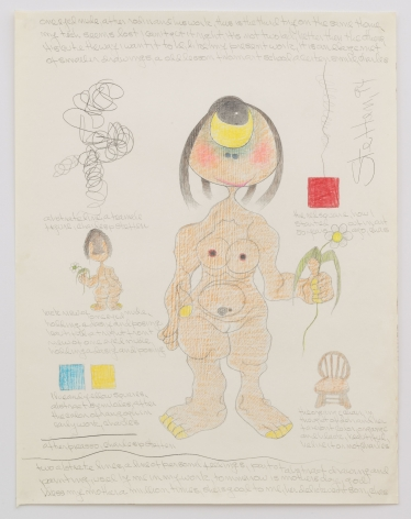 Untitled (one eyed nude after rodin and his work, this is the third try on the same theme), 1994, Graphite and colored pencil on paper