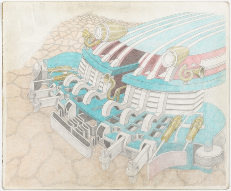 Untitled, 2010, Pencil and crayon on found paper