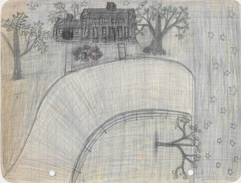 Untitled (In Bethleam and Bethany), c. 1940's , Graphite and colored pencil on notebook paper