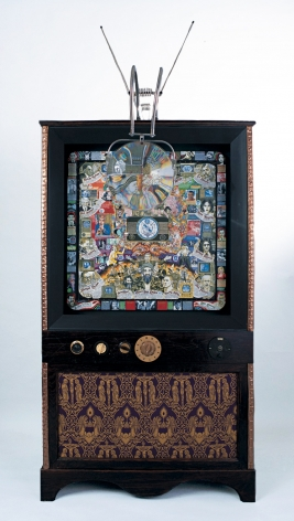 As You Look into the Eye of the Cyclops, So the Eye of the Cyclops Looks into You, 2003, Acrylic on masonite, mixed media console, audio soundtrack, mounted on smoking jacket worn in film Scarlet Diva, TV set knobs, magnifying lens from the artist's gradfather's TV set