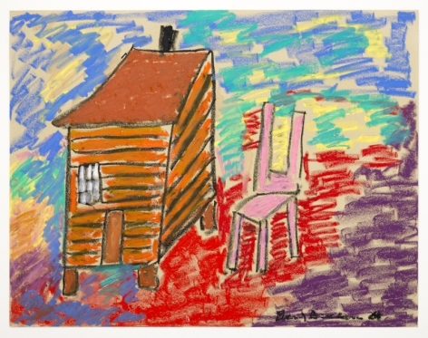 Pink Chair, c. 2004, Oil pastel on paper