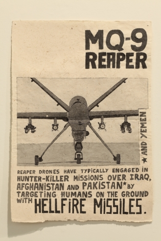 MQ-9 / Reaper and Yemen, 2010, Ink on recycled elephant dung paper