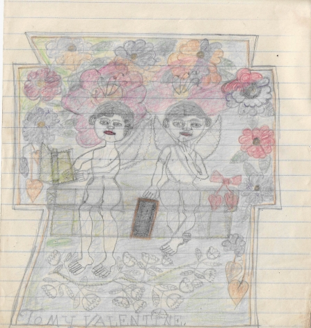 Untitled (To My Valentine), c. 1940's, Graphite and colored pencil on notebook paper