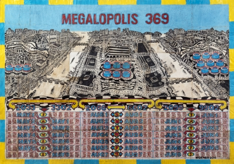 Megalopolis 369 (For You Have Been Weighed and Measured and Been Found Wanting), 2014, Mixed media on paper
