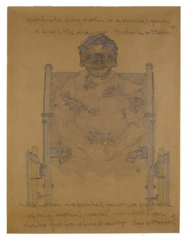 Woman in a Printed Gown, (A Portrait of My Mother), Seated in Her Wheel Chair,1991, Colored pencil and graphite on brown wrapping paper