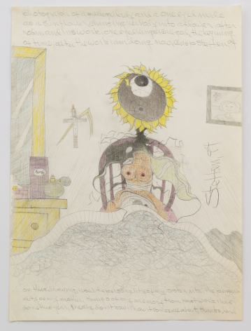 Untitled (photograph of a middle aged lady and a one eyed nude as a sunflower), 1994, Graphite and colored pencil on paper