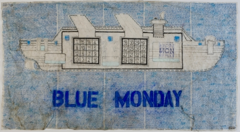 Blue Monday, c. 2002, Mixed media on paper