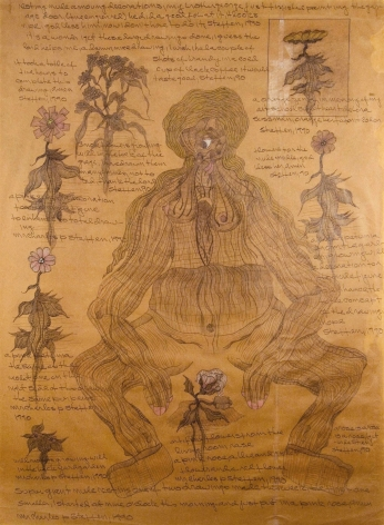 Untitled [Super Giant Nude Resting Among Decorations], 1990, Graphite and colored pencil on taped brown paper