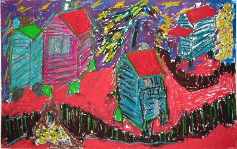 Hog Mountain Christmas, 1995, Oil pastel on paper
