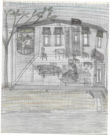 Untitled (In Bethleam In Nice Italy), c. 1940's, Graphite and colored pencil on notebook paper
