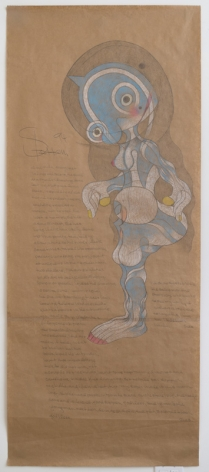 Untitled (Alisha Nude, Arrangement in Lines and Colors), 1994, Colored pencil on brown wrapping paper