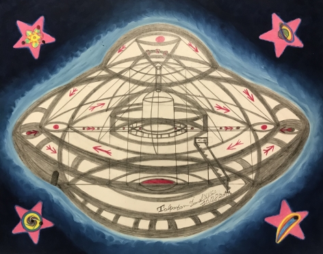 UFOs–Dedicat 2 for Pace [UFOs–Dedicated [to] for Peace], 1999, Mixed media on paper