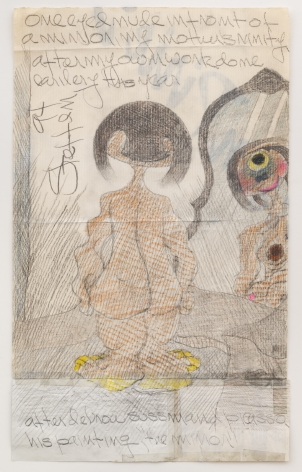 Untitled [One Eyed Nude in Front of a Mirror], 1994, Graphite and colored pencil on taped white shopping bagand cigarette pack wrapper