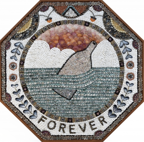 Forever, 2019, Shells, panel and mahogany