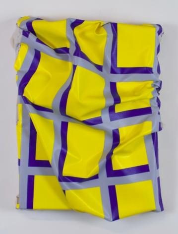 "Timothy Harding, 27"" x 20"" on 20"" x 15"" (yellow, gray, blue), 2015"