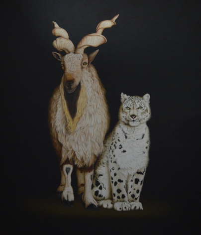 Isabelle du Toit, Markhor and Snow Leopard, 2017