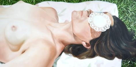 Kelli Vance, Her Glowing White Flesh With Green Blue Eyes, 2019