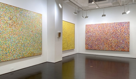 Left to right: Fairy, Untitled (64), Yellow Painting No. 7, Snowflake