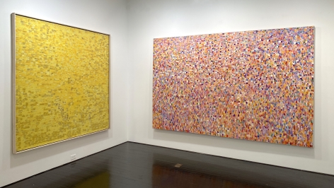 Left to right: Yellow Painting No. 7, Snowflake