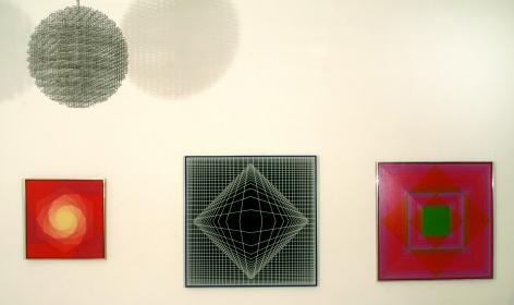 HANNES BECKMANN, Spiral Development, 1966; VICTOR VASARELY, Boreal Neg, 1973; RICHARD ANUSZKIEWICZ, Sacred Green, 1968,