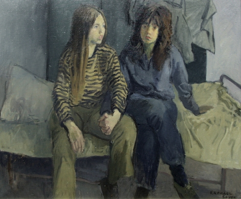 Raphael Soyer, Elizabeth and Marcia, c. 1960, oil on canvas, 25 x 30 inches