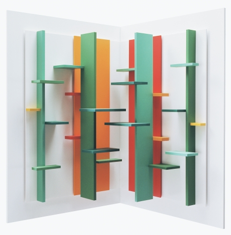 Eli Bornstein, Double Plane Structurist Relief No.2-I, 1966-71, enamel on plexiglass and aluminum, 17 x 17 x 9 1/4 inches