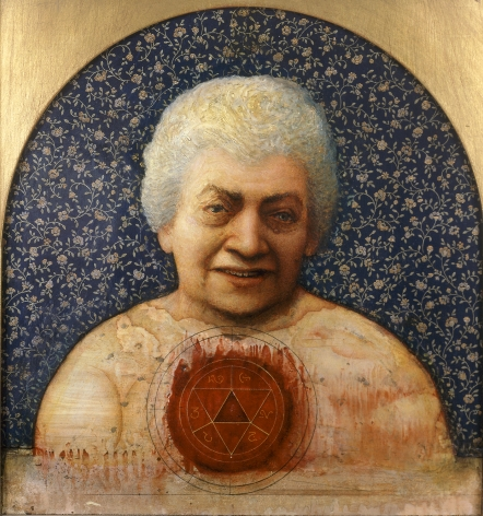 gregory gillespie, My Aunt, 1988, oil on panel, 19 3/4 x 18 1/2 inches