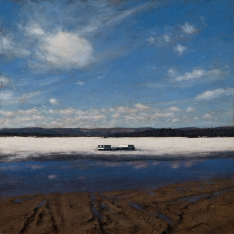 Linden Frederick, Raft, 2008, oil on panel, 12 1/4 x 12 1/4 inches