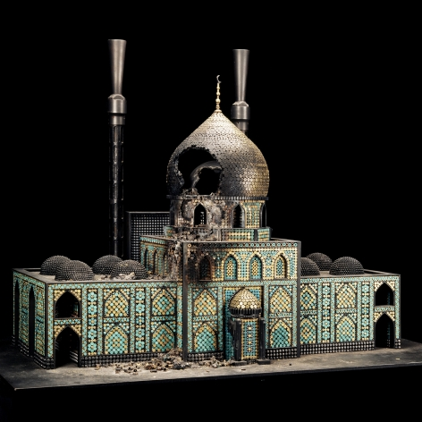 Al Farrow, Bombed Mosque, 2010, guns, gun parts, bullets, steel, 40 x 56 x 34 ¼ inches