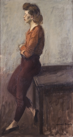 Raphael Soyer, Untitled (Pensive Girl), c. 1940, oil on canvas, 26 x 14 inches
