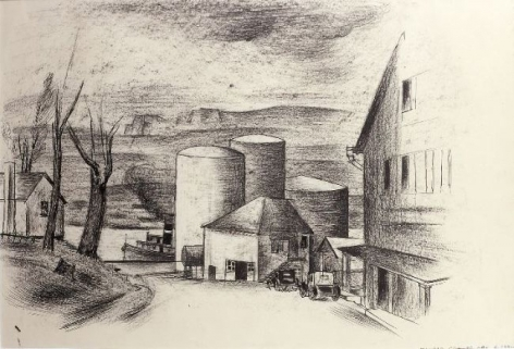 Konrad Cramer, Gas Tanks Along the Hudson River, Saugerties-on-Hudson, New York, c. 1930, black crayon, pen and India Ink on paper, 12 1/2 x 19 inches