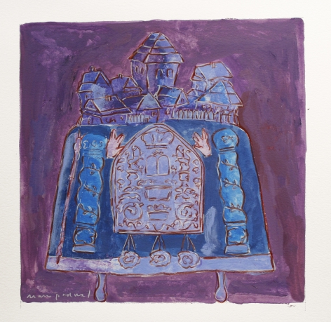Mark Podwal, Shtetl (SOLD), 2008, acrylic, gouache and colored pencil on paper, 12 x 12 inches