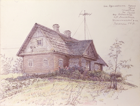 Oleg Vassiliev, House with TV Antenna, 1986-87, graphite, pen, and colored pencil on paper, 9 3/8 x 12 1/2 inches
