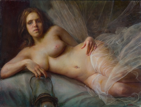 steven assael, Reclining Bride with Lantern (SOLD), 2012, oil on board, 18 x 24 inches