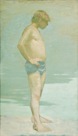 david levine, Bather (SOLD), nd, oil on canvas, 70 x 40 inches