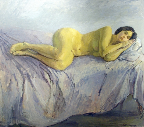 Raphael Soyer, Nude, 1980, oil on canvas, 50 x 54 inches