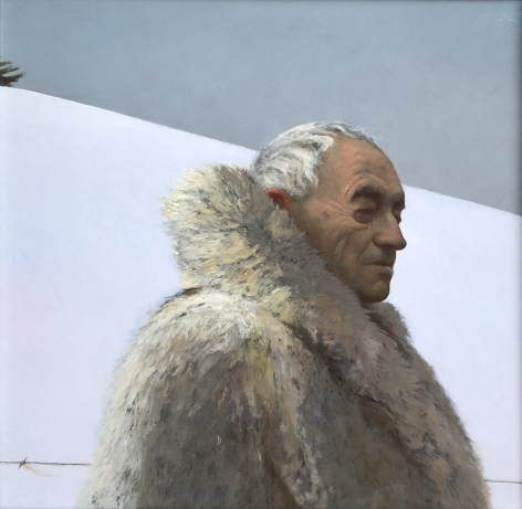 Bo Bartlett, Andrew Wyeth on Snow Hill (SOLD), 2017, oil on canvas, 20 x 20 inches