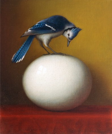 wade schuman, Bird on Egg (SOLD), 2006, oil on linen on panel, 21 x 25 inches