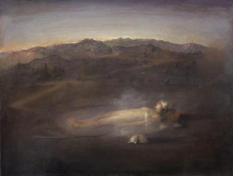 Odd Nerdrum, Icelandic Bath, oil on canvas, 48 x 36 1/4 inches