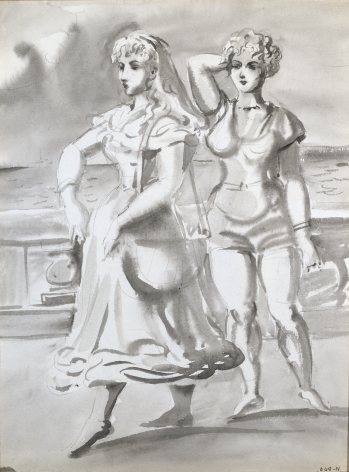 Reginald Marsh, Two Women on a Promenade, 1948, watercolor and grisaille on paper, 10 x 8 inches