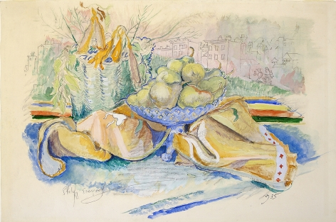 philip evergood, Still Life, c. 1935, watercolor on paper, 11 1/2 x 17 inches