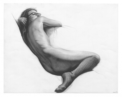 Steven Assael, Figure Reclining with Glasses, 2013, graphite and crayon on paper, 14 x 18 inches