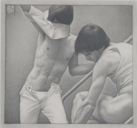 Michael Leonard On the Steps I, 1980, graphite pencil on paper, 7 x 7 1/2 inches