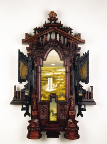 Holly Lane, In Preparation, She Cached A Guidebook Near the River of Oblivion, 2008, acrylic and carved wood, 52 1/2 x  35 1/2 x 6 3/4 inches