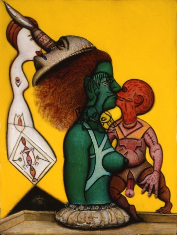 gregory gillespie, Mother and Son, 1999, oil on wood, 19 x 14 inches