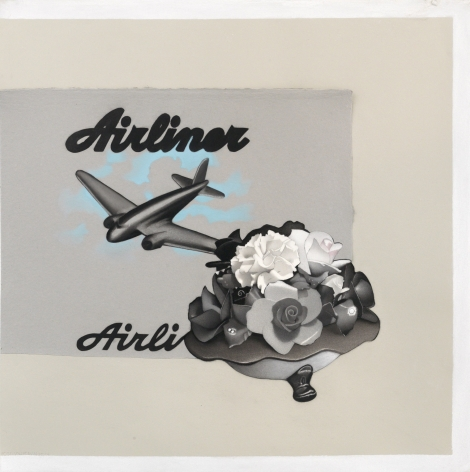 susan hauptman, Still Life (Airliner Airli), 2014, charcoal on paper, 30 x 30 inches