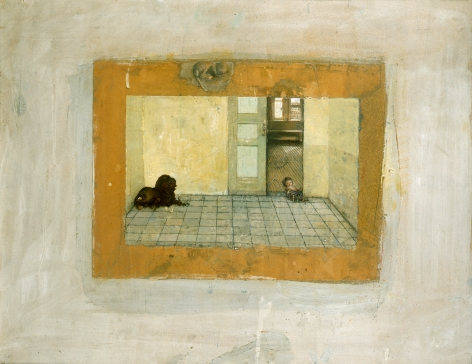 gregory gillespie, Dog and Doll in a Room, 1981, mixed media, 25 x 31 inches