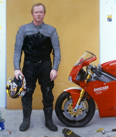 William Beckman, Studio No. 3 (Ducati) (SOLD), 2004-05, oil on panel, 95 x 80 inches