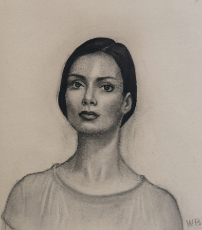 william beckman, Dianne (Head Study), 2013, charcoal on handmade paper, 26 x 25 inches